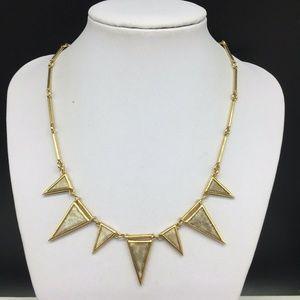 J CREW Spike Pendants Gold Tone Tan Stone Necklace